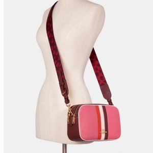 NWT Coach pebbled leather camera bag pink C4079